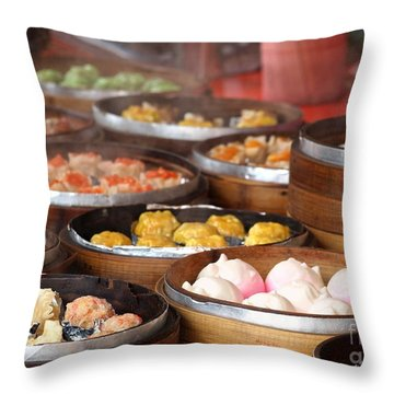 Bamboo Steamers With Dim Sum Dishes Throw Pillow