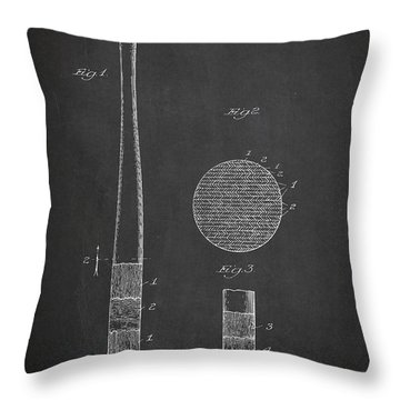Baseball Bat Patent Drawing From 1920 Throw Pillow