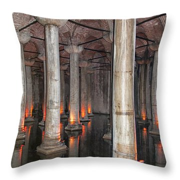 Basilica Cistern 02 Throw Pillow by Antony McAulay