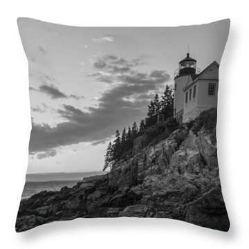 Throw Pillow featuring the photograph Bass Harbor Head Light Sunset  by Michael Ver Sprill