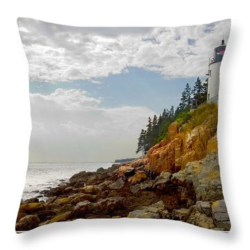 Bass Harbor Head Lighthouse Throw Pillow