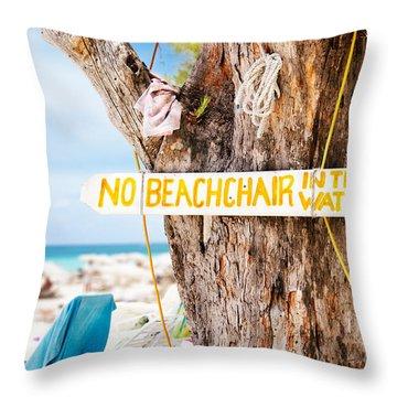 Beach At Rum Point Throw Pillow by Jo Ann Snover