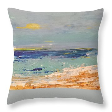 Throw Pillow featuring the painting Beach by Diana Bursztein
