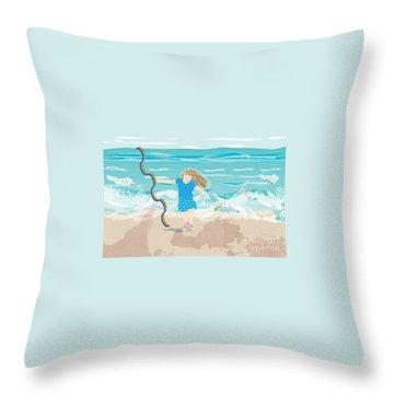 Throw Pillow featuring the digital art Beach Rainbow Girl by Kim Prowse
