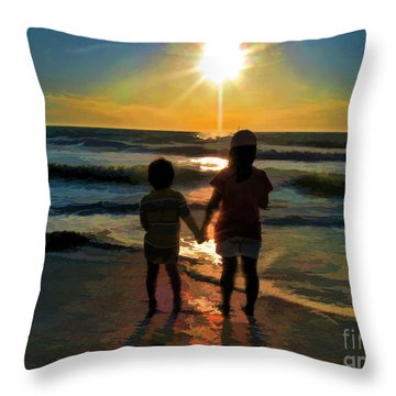 Beach Kids Throw Pillow by Margie Chapman