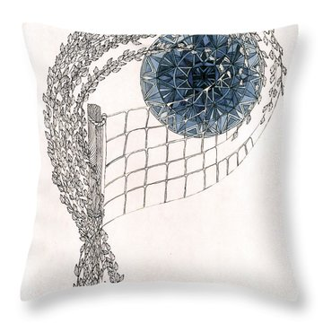 Throw Pillow featuring the drawing Beach Volleyball by Dianne Levy