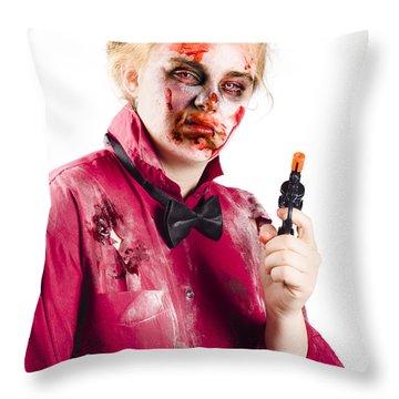 Beaten Woman Holding Handgun Throw Pillow