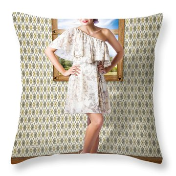Beauty Photo Of Hair Makeup And Fashion Model Throw Pillow