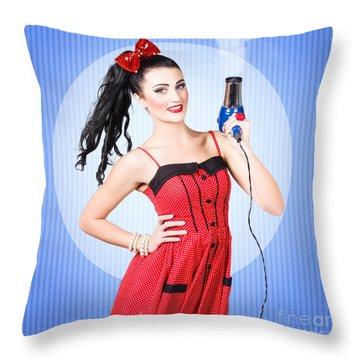 Beauty Salon Blow Dry Hair Style Throw Pillow