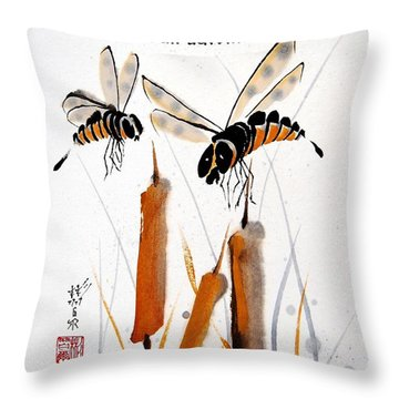 Throw Pillow featuring the painting Beeing Present by Bill Searle