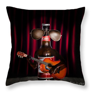 Beer Bottle Music Performer Playing Opening Act Throw Pillow