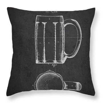 Beer Mug Patent From 1876 - Dark Throw Pillow