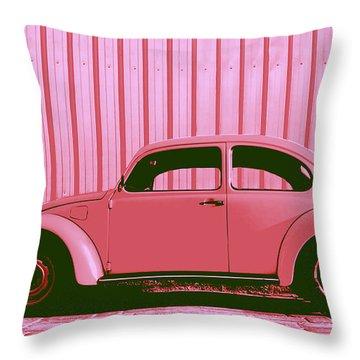 Beetle Pop Pink Throw Pillow