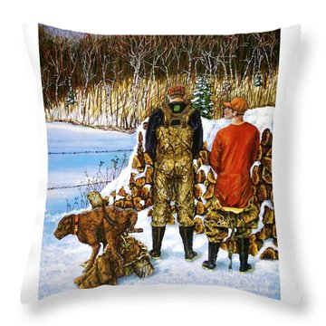Behind The Wood Pile    Throw Pillow by Linda Simon
