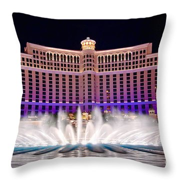 Bellagio Hotel And Casino At Night Throw Pillow by Jamie Pham
