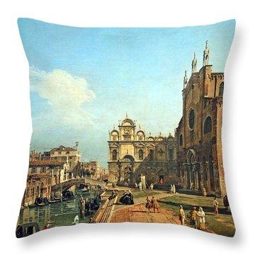 Bellotto's The Campo Di Ss. Giovanni E Paolo In Venice Throw Pillow by Cora Wandel