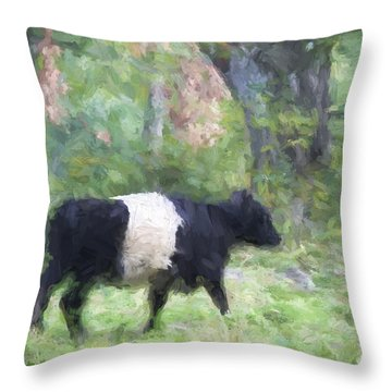 Belted Galloway Cow Painterly Effect Throw Pillow