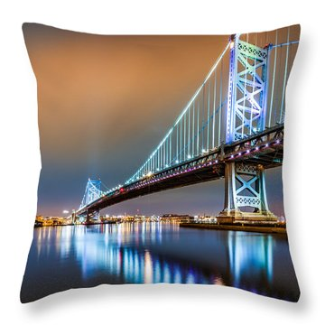 Throw Pillow featuring the photograph Ben Franklin Bridge And Philadelphia Skyline By Night by Mihai Andritoiu