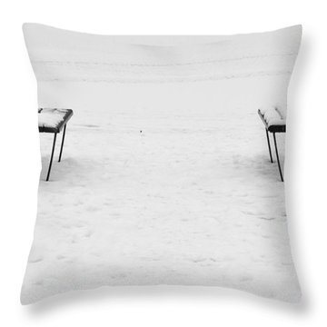 Benches On A Dock Throw Pillow by Jouko Lehto