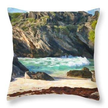 Bermuda Hidden Beach Throw Pillow by Verena Matthew