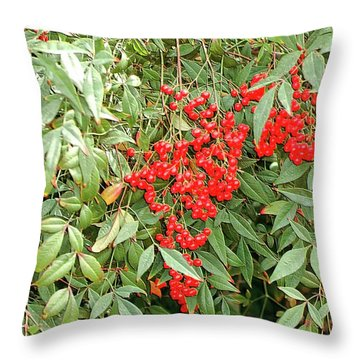 Berry Bush Throw Pillow by Kathleen Struckle