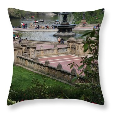 Bethesda Fountain - Central Park Nyc Throw Pillow by Christiane Schulze Art And Photography