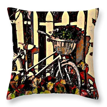 Bicycle Planted Throw Pillow