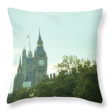 Big Ben Throw Pillow by Rachel Mirror