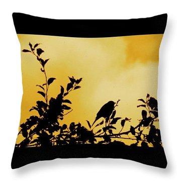 #birdinatree #silhouette #autumncolors Throw Pillow