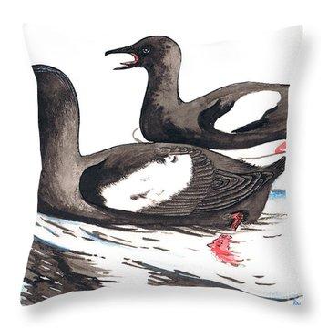 Black Guillemot Throw Pillow