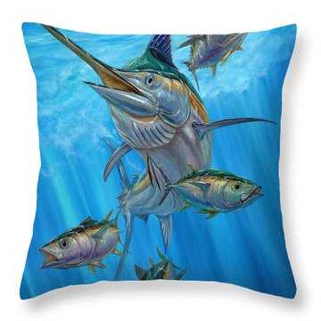 Black Marlin And Albacore Throw Pillow