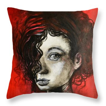 Black Portrait 23 Throw Pillow
