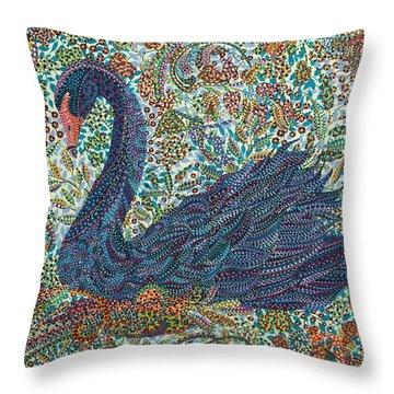 Black Swan Throw Pillow by Erika Pochybova