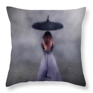 Black Umbrella Throw Pillow by Joana Kruse