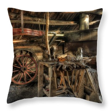 Blacksmith Shop Throw Pillow by Jaki Miller