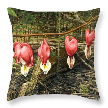 Bleeding Hearts Throw Pillow by Bob  George