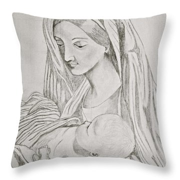 Blessed Mother And Baby Jesus Throw Pillow