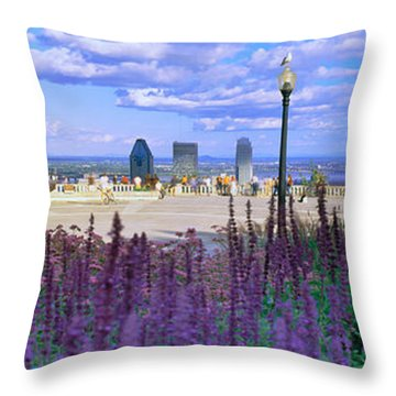 Blooming Flowers With City Skyline Throw Pillow