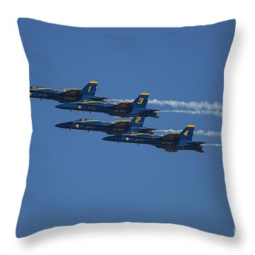 Blue Angels Fly By 1 Throw Pillow by D Wallace