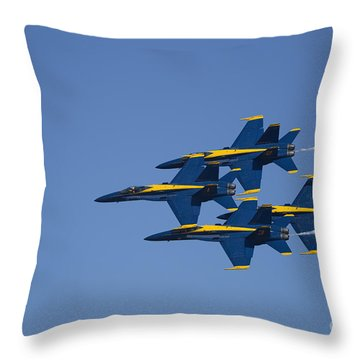 Blue Angels Fly By 2 Throw Pillow by D Wallace