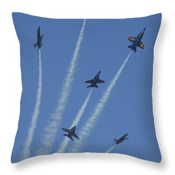 Blue Angels Star Burst 2 Throw Pillow by D Wallace