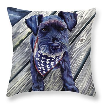 Blue Black Dog On Pier Throw Pillow