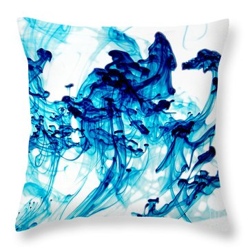 Blue Chaos Throw Pillow