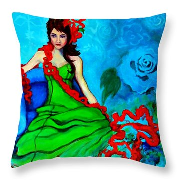 Throw Pillow featuring the painting Blue Compliments by Angelique Bowman