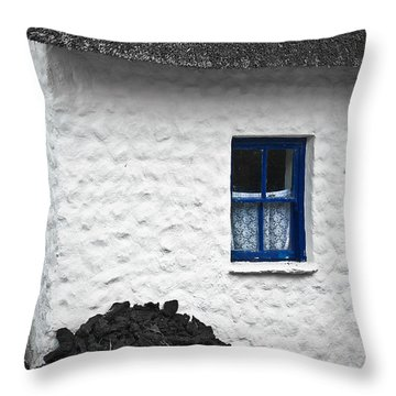 Throw Pillow featuring the photograph Blue Cottage Window by Jane McIlroy