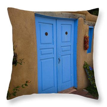 Blue Doors Throw Pillow