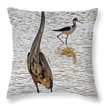 Blue Heron And Stilt Throw Pillow