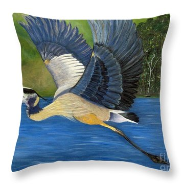 Throw Pillow featuring the painting Blue Heron In Flight by Brenda Brown