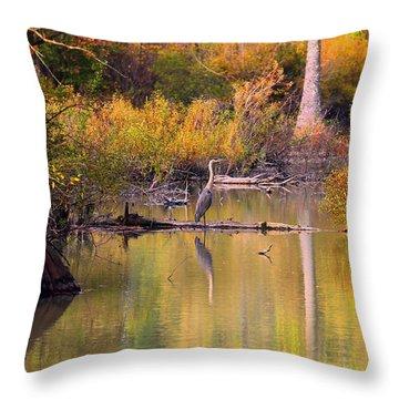 Blue Heron Lake Throw Pillow