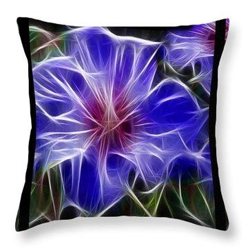 Blue Hibiscus Fractal Throw Pillow by Peter Piatt